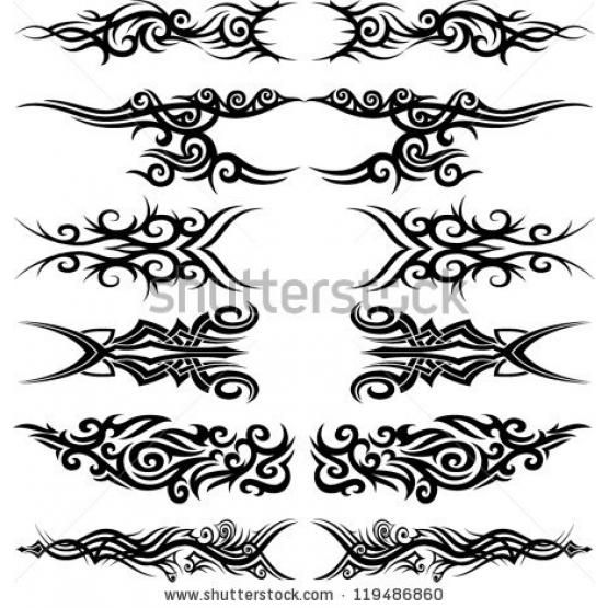 Maori tribal tattoo - Set of 6 different vector tribal tattoo in polynesian style