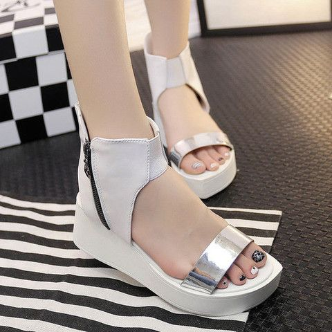 Womens Sleek Platform Wedge Sandals
