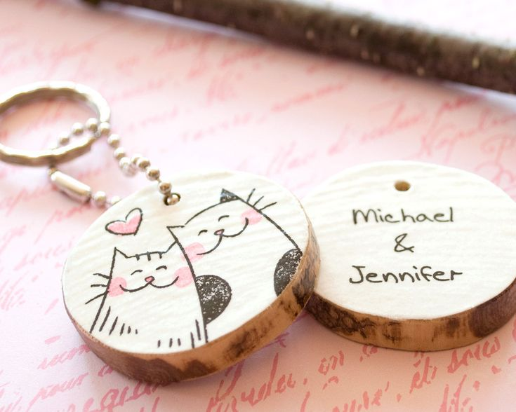 Wood Couple Keychain Custom Eco Friendly - Cat Love Heart Cute Illustration Drawing - Key Chain Ring - Wooden Tree Branch Salvaged Paper. $20.00, via Etsy.
