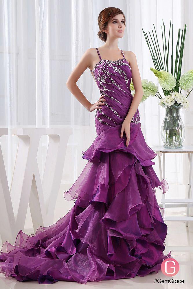 Custom purple long occasion dress with ruffles