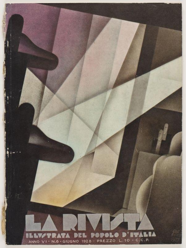 La Rivista, anno VI, n. 6 (Giugno, 1928), front cover: [Illustration in the cubist style window with two small male figures on right, signed] Garretto