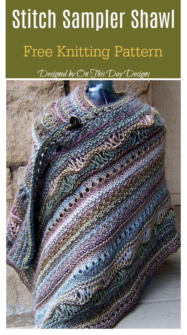 7930b91d9 Stitch Sampler Shawl Free Knitting Pattern  freeknittingpattern   shawlpattern  easypattern