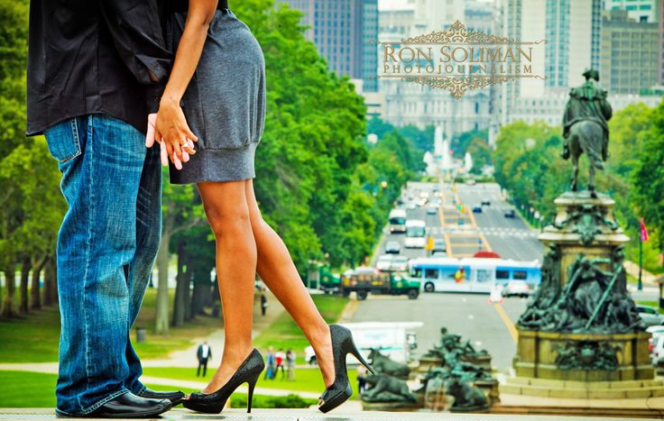 Philadelphia engagement shoot, cute heels, city background.  Photos by Ron Soliman Photojournalism.