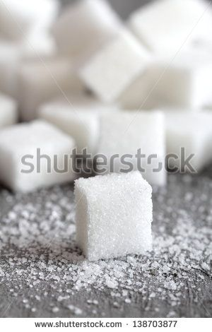 close up sugar cube on gray background
