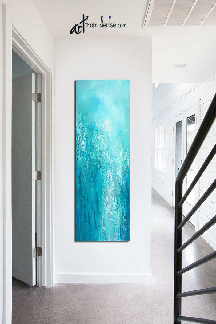Tall Vertical Blue Wall Art Teal Turquoise Aqua Gray White Etsy Large Canvas Wall Art Blue Wall Art Original Wall Art