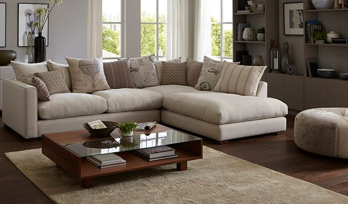 Adler L-shape sofa from Woodenstreet allows you to enjoy Luxury with comfort. The plush fabric in cream colour provides a rich look to this sofa and can blend with almost any type of #homedecor. #Woodenstreet #Furniture #Livingroom #India View more corner sofas on: https://www.woodenstreet.com/corner-sofas