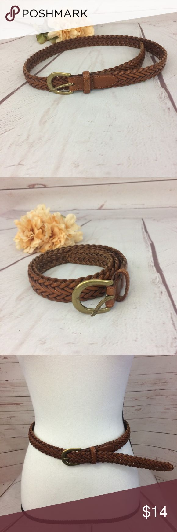 Brown Braided Faux Leather Belt With Brass Buckle Braided brown faux leather belt with solid brass buckle. Fully adjustable with no set holes. Excellent condition!! bjcich Accessories Belts