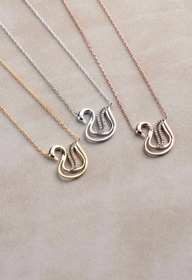 Swan Diamond Necklace, Silver Swan Necklaces, Bird Necklaces, Unique Real Diamond Necklace , …