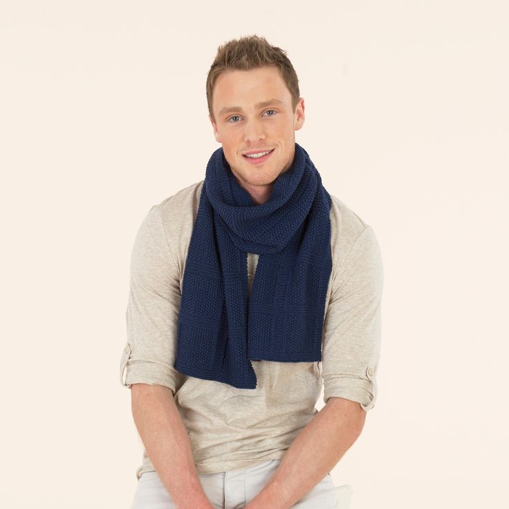 The Grand Tour Scarf - knitted by hand in Sublime extra fine merino wool dk for modern, understated luxury.
