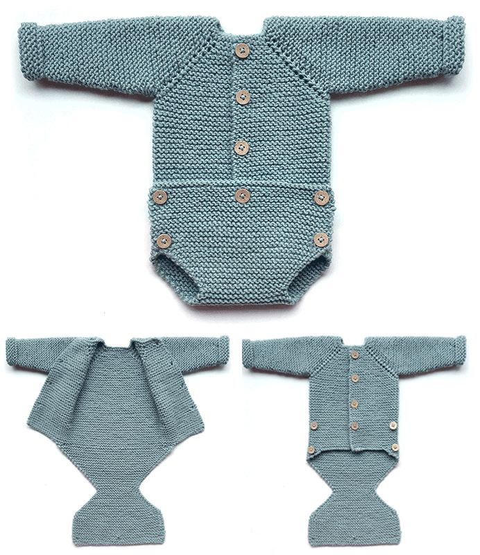 Free Knitting Pattern for Pelele Onesie - Garter stitch onesie with buttoned fastenings on front and pant flap. Sizes Newborn/ 0-1 months. Designed by Marta Porcel. DK weight. Available in English and Spanish.
