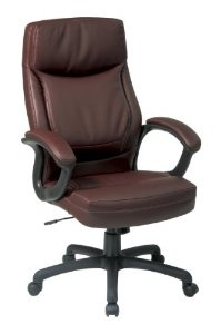 Office Star WorkSmart Executive High Back Eco Leather Chair, Mocha