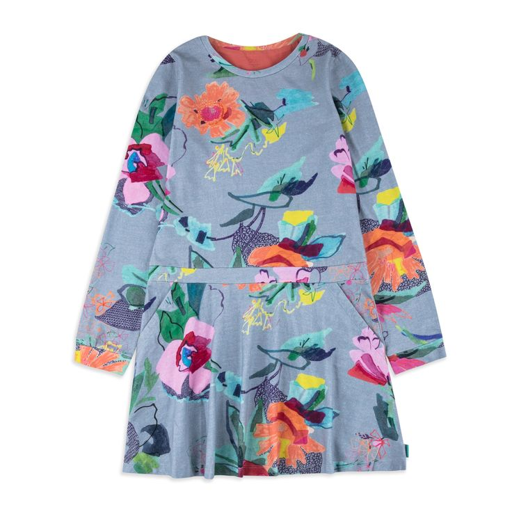 OILILY Girls Toop Dress - Blue From £54 Girls long sleeve dress • Soft stretchy cotton • Round neckline • Ribbed cuffs and hem • Colourful floral print • Material: 95% Cotton, 5% Elastane