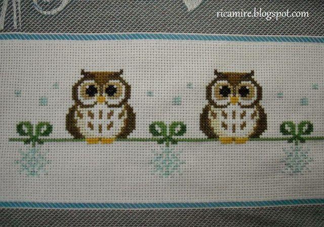 πολλά σχέδια με κουκουβάγιες για σταυροβελονιά/ Lots of owl cross stitch patterns     πηγή / source                       http://ricamire....