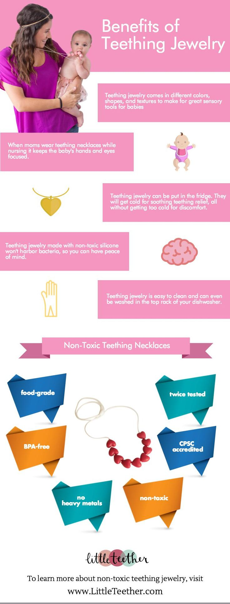 Our SEO client, Little Teether loves sharing the word about the benefits of teething jewelry. Click to read benefits of Little Teether's teething necklaces in this infographic.