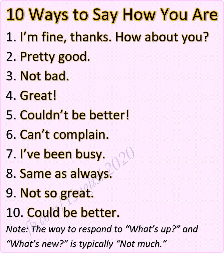 10 Ways to Say How You Are