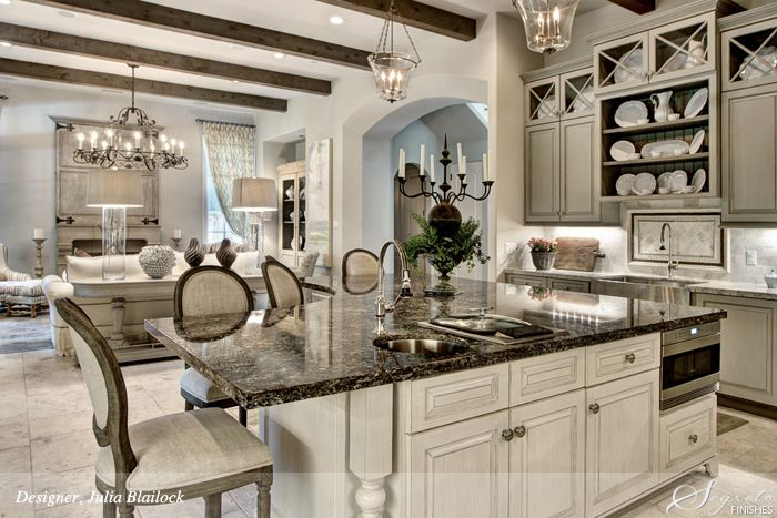Beautiful kitchen with gray cabinets by Segreto Finishes and Designer Julia Blailock
