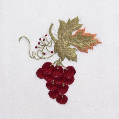 Grapes ClassicHand Towel - White Cotton – Henry Handwork