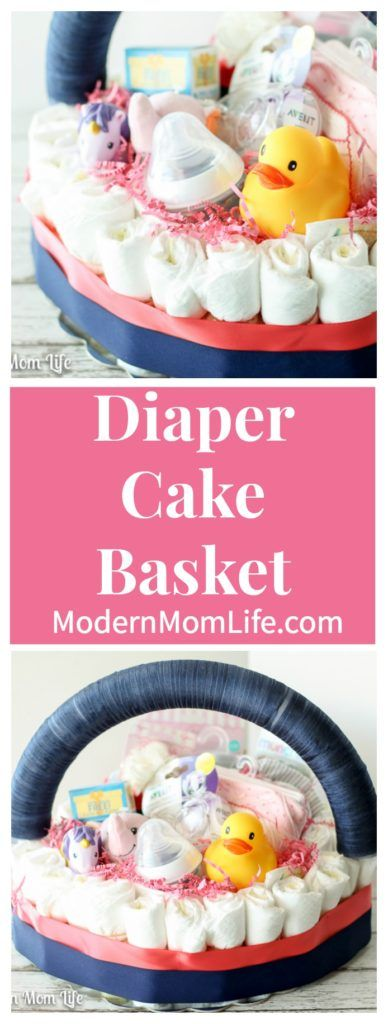 How to make a DIY Diaper Cake Basket for a Baby Shower or Baby Sprinkle.  via @amodernmomlife