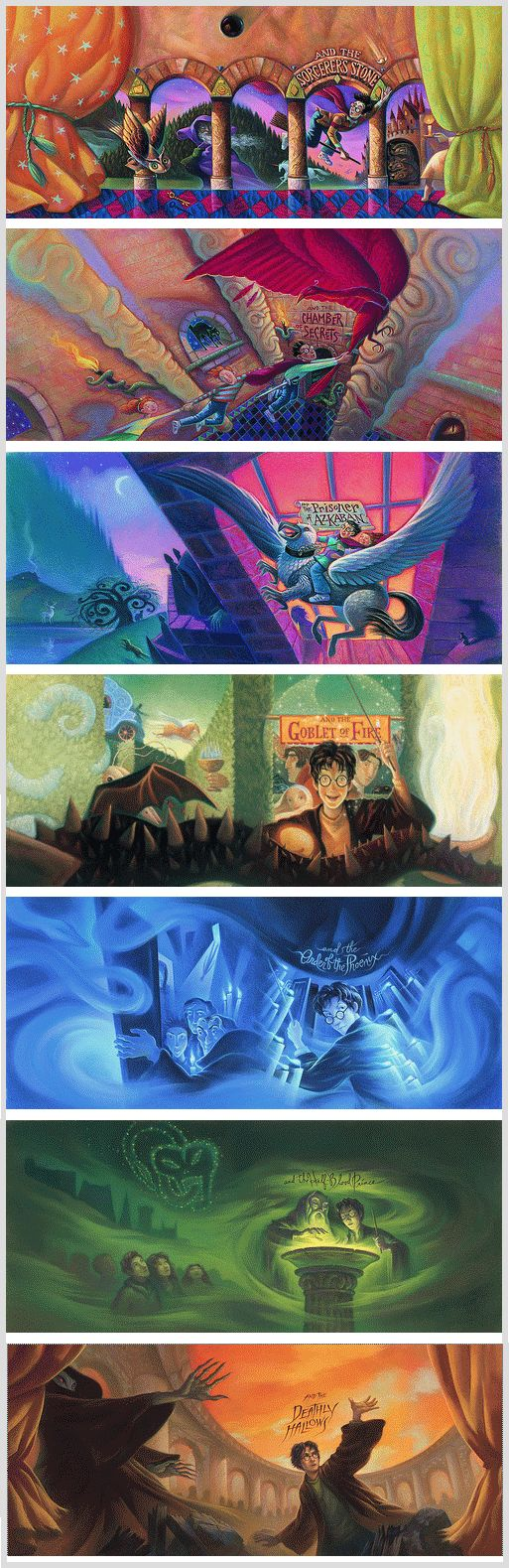Harry Potter book covers by Mary GrandPré, original American editions ~ I love all the little details. I love it when they all make sense!