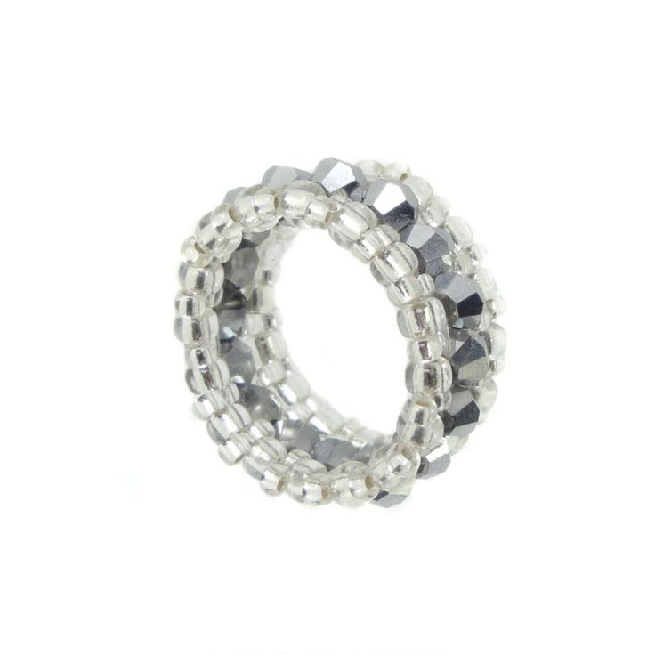 Memory Ring - Kristall Glasschliff - Jet Hämatit / Silber - ca. 10 mm breit - Handarbeit