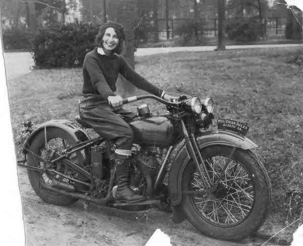 "Vivian Bales in 1929. Ms. Bales rode all across the country and became known as ""The Enthusiast Girl."" – via Harley Davidson Museum"