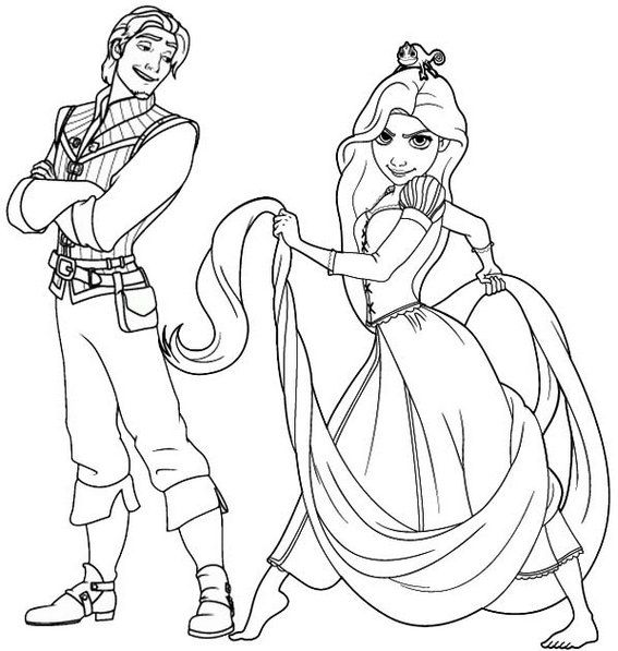 Rapunzel And Flynn Coloring Page For Disney Fans Rapunzel Coloring Pages Tangled Coloring Pages Disney Coloring Pages