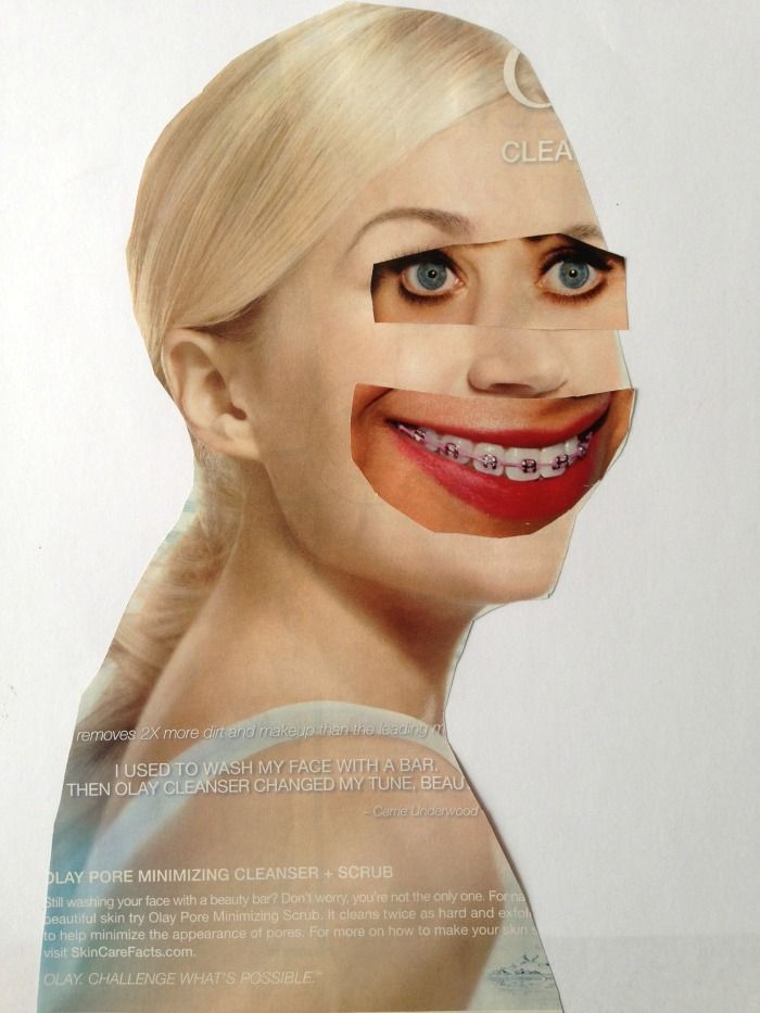 Awesome surreal magazine collage faces. TinyRottenPeanuts.com