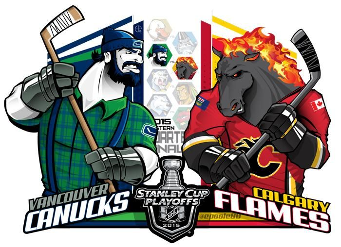 #EPoole88 (Eric Poole) is back with his renditions of the first-round Stanley Cup playoff matchups. This is for the Western Conference series between the Vancouver Canucks and the Calgary Flames.