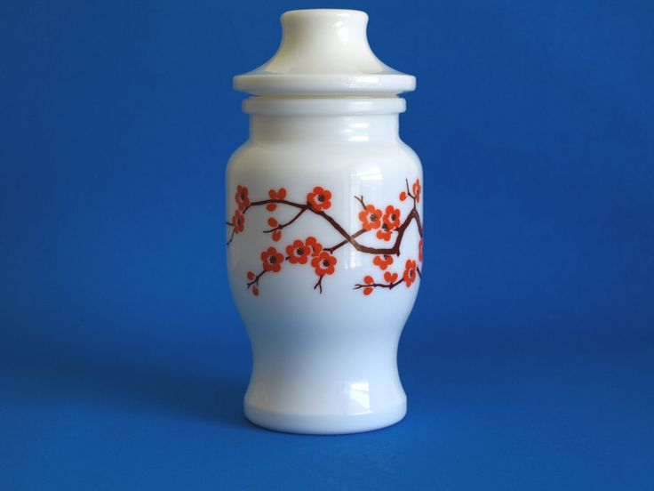 Vintage Milk Glass Japanese Cherry Blossom Canister or Urn - Apothecary Pharmacy or Spice Jar - Made In Belgium by FunkyKoala on Etsy