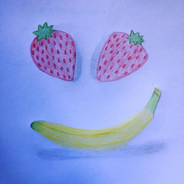 #fruit #strawberry #smile #smiley #banana #healthy #art #artsy #artist #artwork #creative #drawing