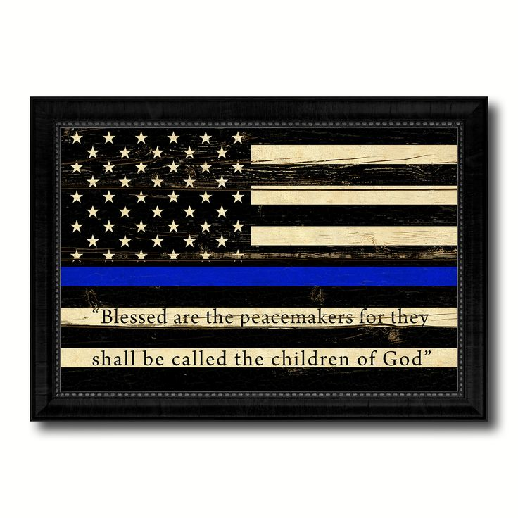 Law Enforcement Thin Blue Line Flag With Mathew 5:9 USA Flag Vintage Canvas Print with Black Picture Frame Home Decor Wall Art Gift Ideas