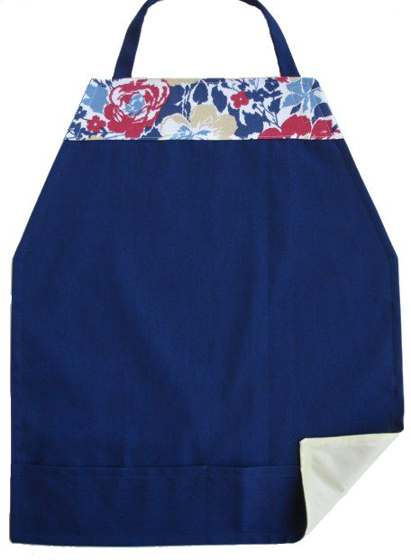 Floral trim on navy blue adult bib.                                                                                                                                                                                 More