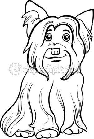 Libro de colorear de perros Yorkshire terrier — Ilustración de stock #50123411
