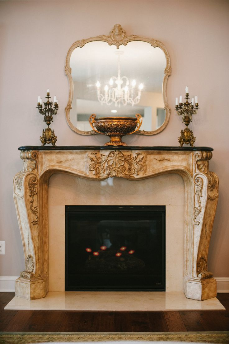 French Inspired Rococo Style Fireplace Mantel Vintage