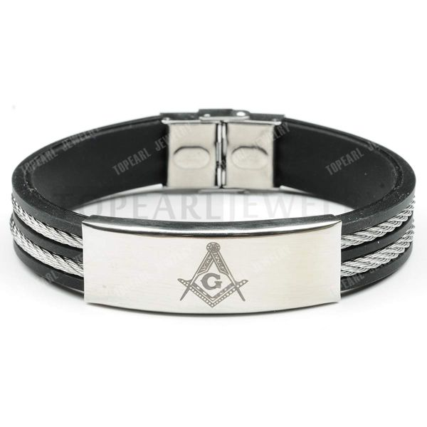 Topearl Jewelry 3pcs Freemasonry Masonic Stainless Steel Wire Rubber Bracelet MEB882