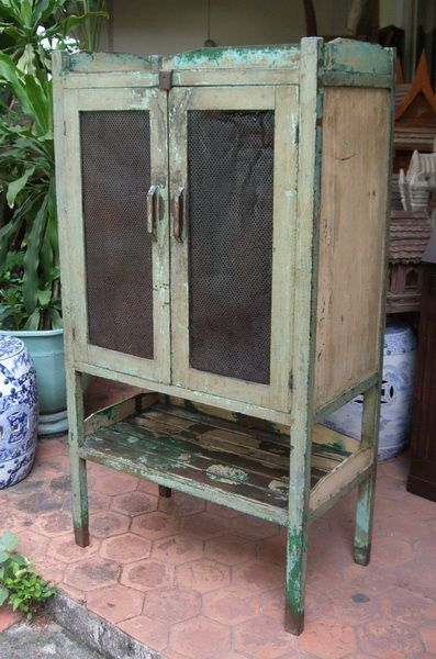 Meat-Safe with Original Paint Remanents: Traditional kitchen storage cabinet from Thailand.  All solid teak with weathered blue-green-white paint.