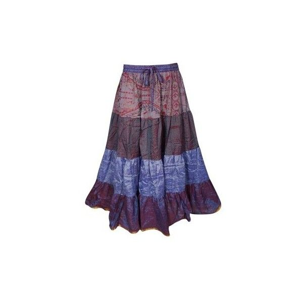Mogul Womens Maxi Tiered Skirt Vintage Sari Full Flare A-Line Golden... (133140 PYG) ❤ liked on Polyvore featuring skirts, long maxi skirts, vintage maxi skirt, purple maxi skirt, long skirts and long vintage skirts