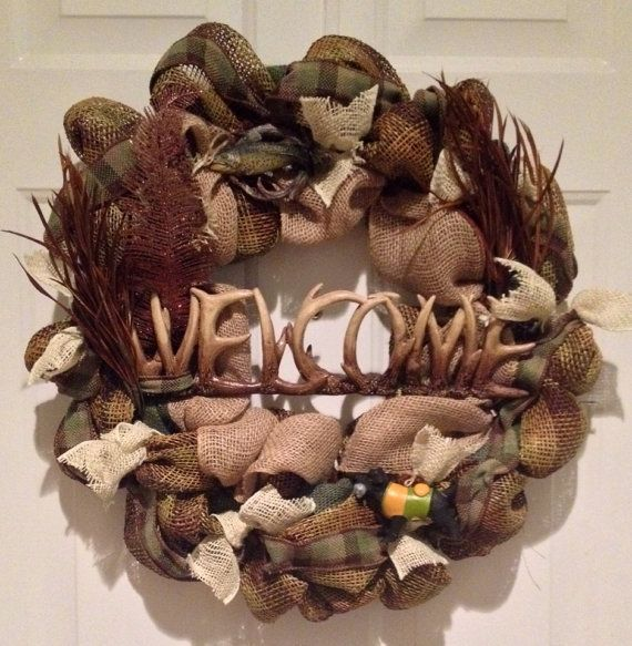 Welcome to my Cabin, hunting wreath, fishing wreath, hunting cabin, man cave, boys will be boys  on Etsy, $65.00