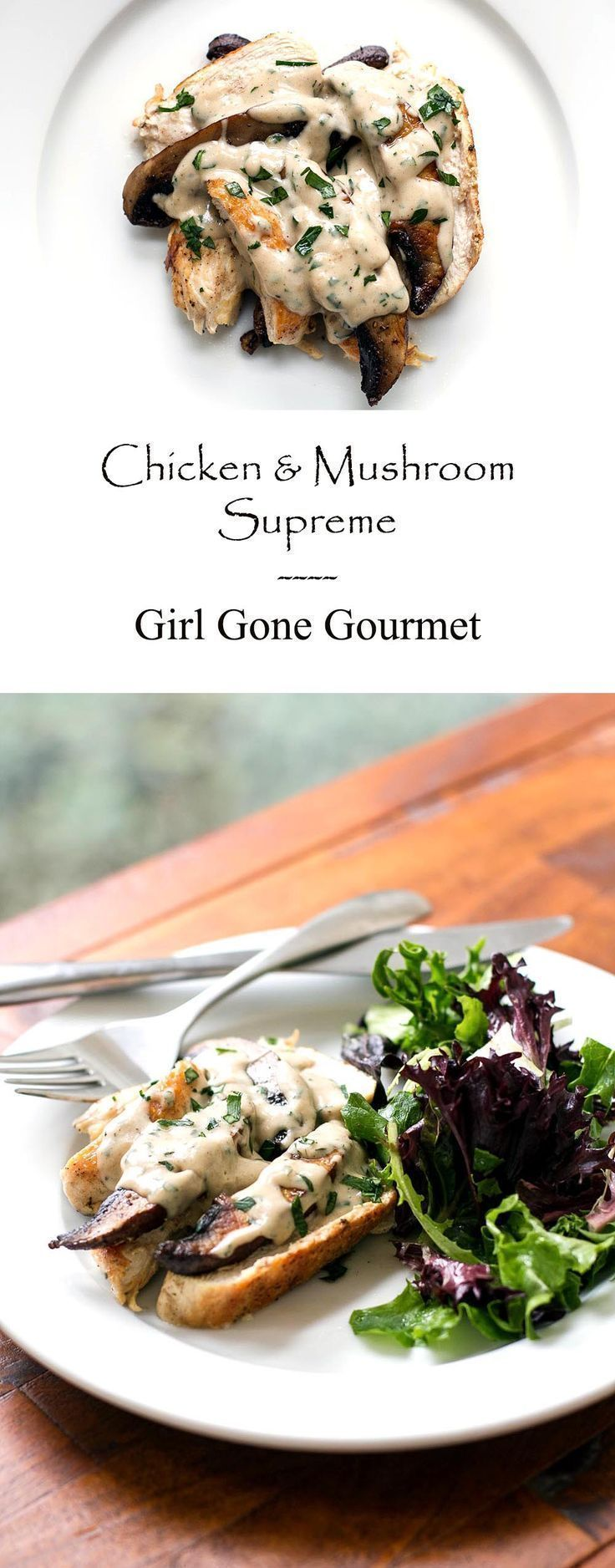 Chicken and mushrooms with a velvety, creamy supreme sauce made with chicken stock, butter, flour, and cream | girlgonegourmet.com