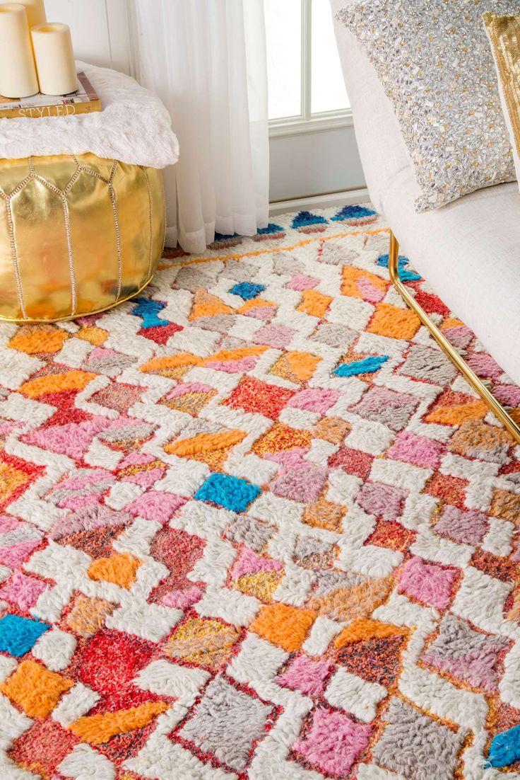 hand tufted vibrant moroccan diamond shag rug