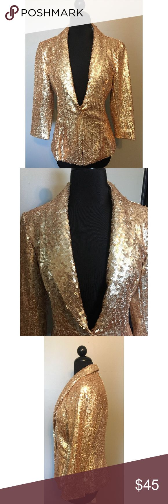 NWOT!! NY&Co. gold sequin blazer NWOT! Gold sequin blazer is for sure a show stopper! This fun and bright blazer has never been worn. New York & Company Jackets & Coats Blazers