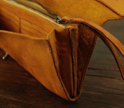 ウォッシュレザーの長財布(ビンテージテイスト)/ナチュラルセット