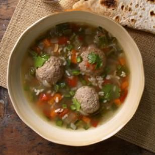 "Turkey Albondigas Soup  Albondigas, Spanish for ""meatballs,"" star in the traditional broth-based Mexican soup. 7 points"