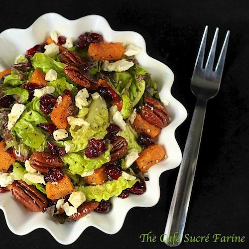 Roasted Sweet Potato and Cranberry Salad w/ Feta, Sea-Salted-Roasted Pecans & Honey-Cumin Vinaigrette