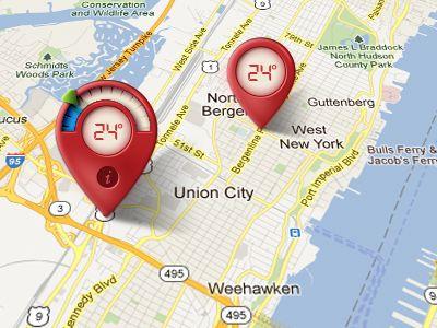 temperature/location map