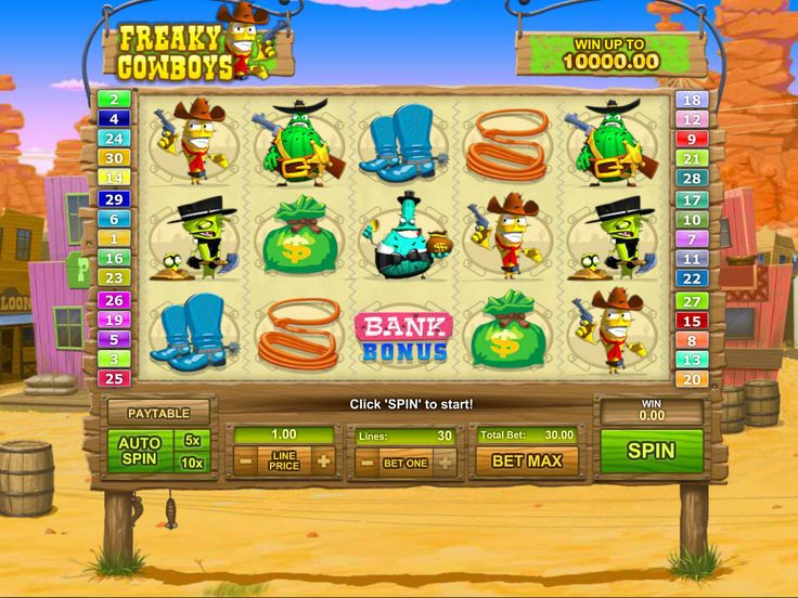 Freaky Cowboys - http://freeslots77.com/freaky-cowboys/ - The attractive design and mind-blowing payouts of Freaky Cowboys online slot game will definitely draw your attention. The slot machine is filled with the symbols of some funny cowboy characters that will not only add fun to your game but also create great winning chances. GameOS have developed...