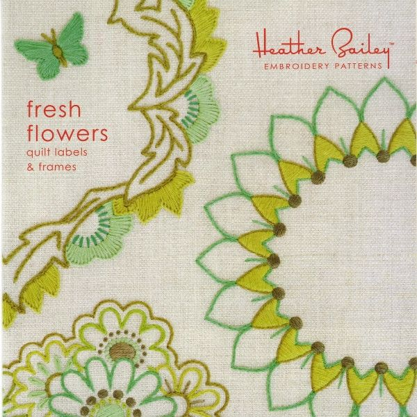 Fresh flowers by heather bailey quilt label embroidery
