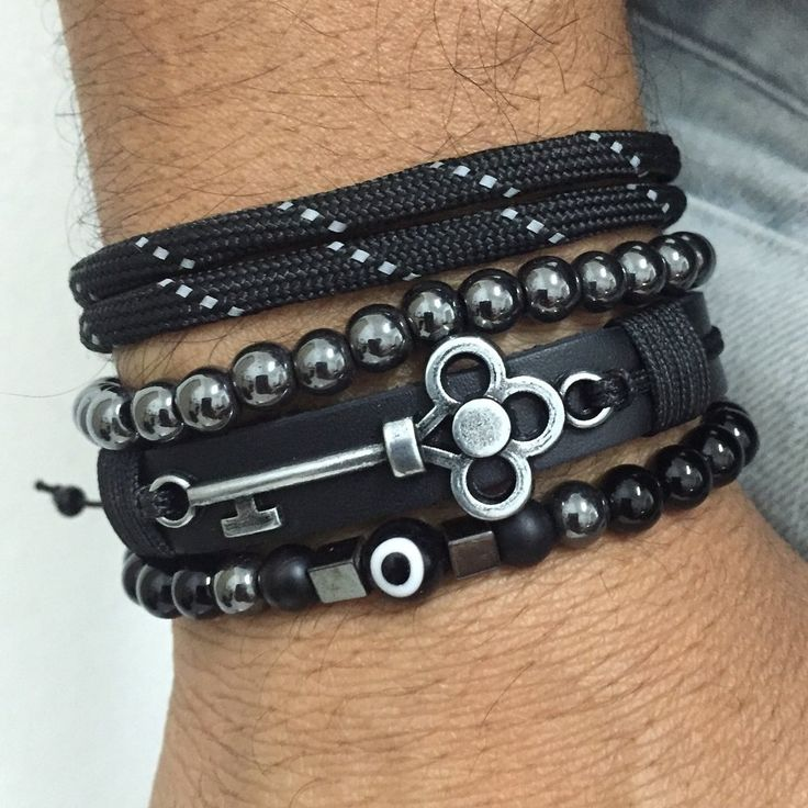 Kit 4 Pulseiras Masculinas Couro Olho Grego Onix Chave Key mens bracelets fashion style cocar brasil