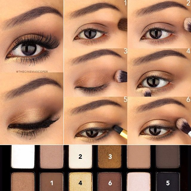 Golden bronze eye with @maybelline The Nudes palette! What palettes are you either loving or need some inspiration for? I'd love some recommendations!  .  1. Apply this medium brown to the outer half of the lid up into the crease and under the lower lashline.  2. Blend out with a large fluffy brush, towards the inner half of the lid. Then, with this matte beige, blend it out further so that there is a light, diffused color on the lid, with the brown concentrated in the outer half of the…