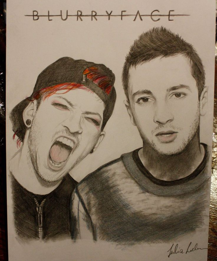 """Here's my drawing of twenty one pilots. Spent the whole night on it and didn't get a lot of sleep but it was worth it, I kinda like how it turned out"" - BasketCaseA7X  Attention! This is not mine! Thats why I put the link and the name of the artist: BasketCazeteA7x Sorry if there was some misunderstanding."